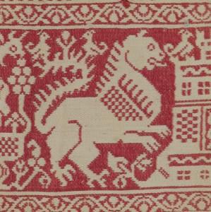 Textil con castillo y leones rampantes 48,4 x 8,8 cm #A0903